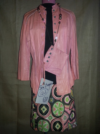 upcycled pink pig leather jacket