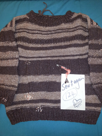 Casey's homespun and knitted jumper upcycled by mending