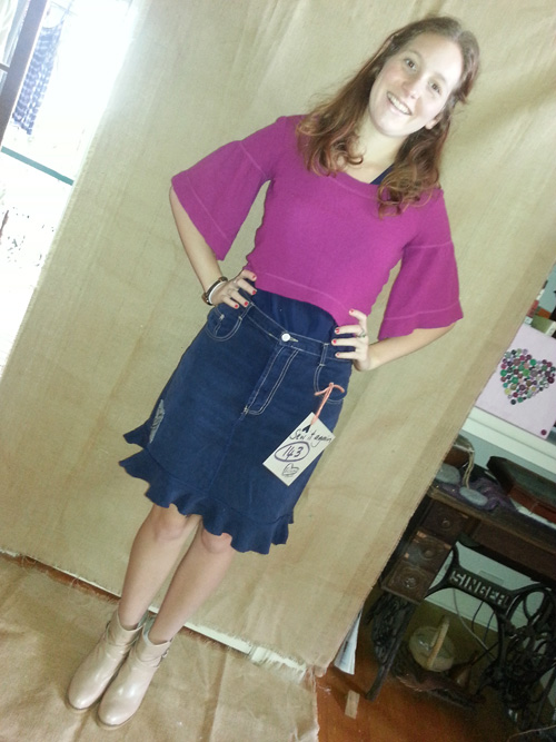 Steph in upcycled skirt