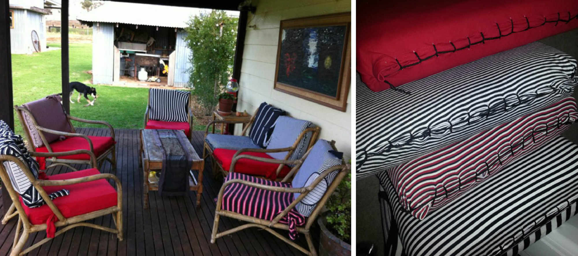 upcycled t-shirts become chair covers