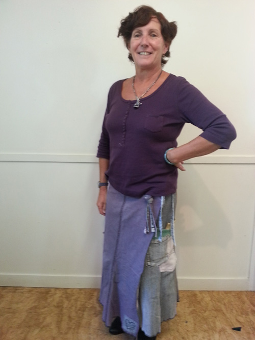 Upcycled wrap skirt from skinny jeans