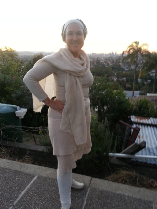 Jane Milburn in upcycled wool skirt and top
