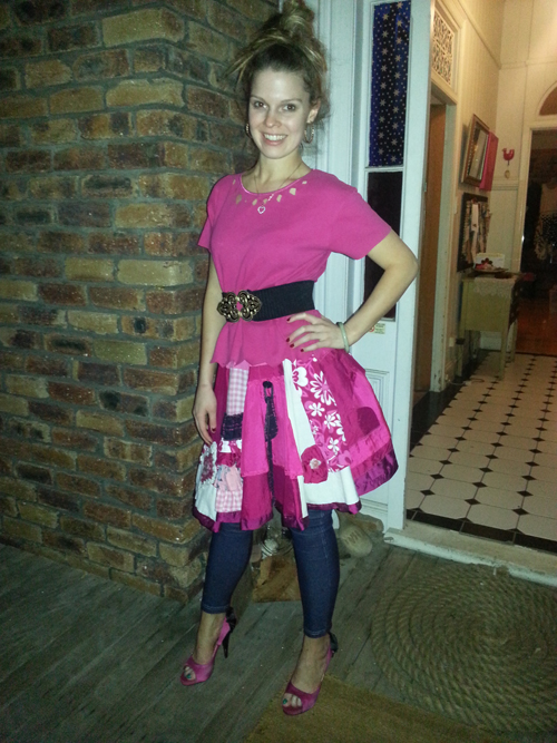 Katy wears upcycled history skirt