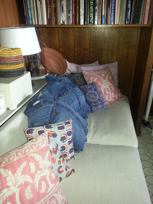 Denim jackets double as cushion covers