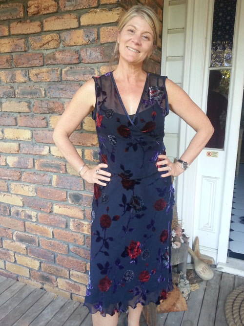 Lisa in favourite upcycled silk