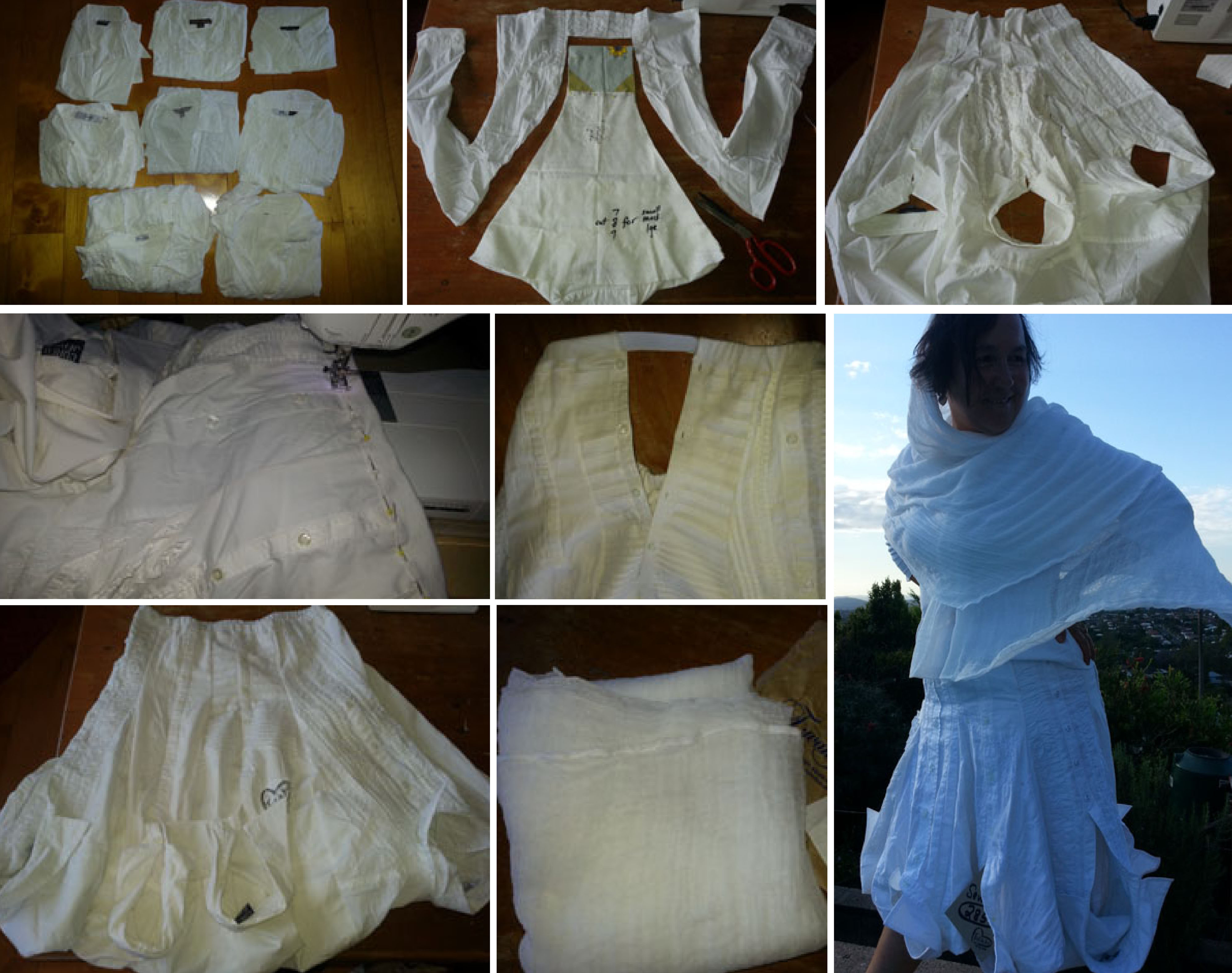 refashioned white shirt skirt