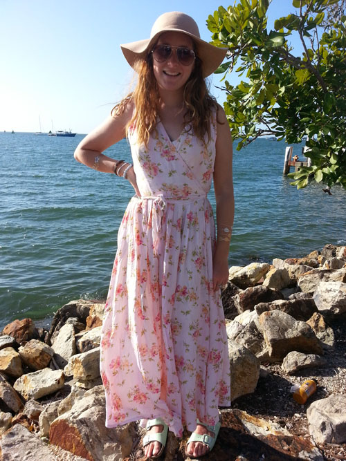 Steph wears upcycled floral maxi dress
