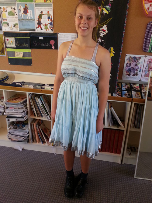 Maree wears upcycled dress