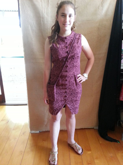 Elle wears upcycled dress