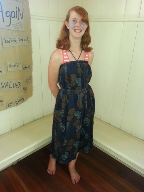 Lucy wears upcycled shift