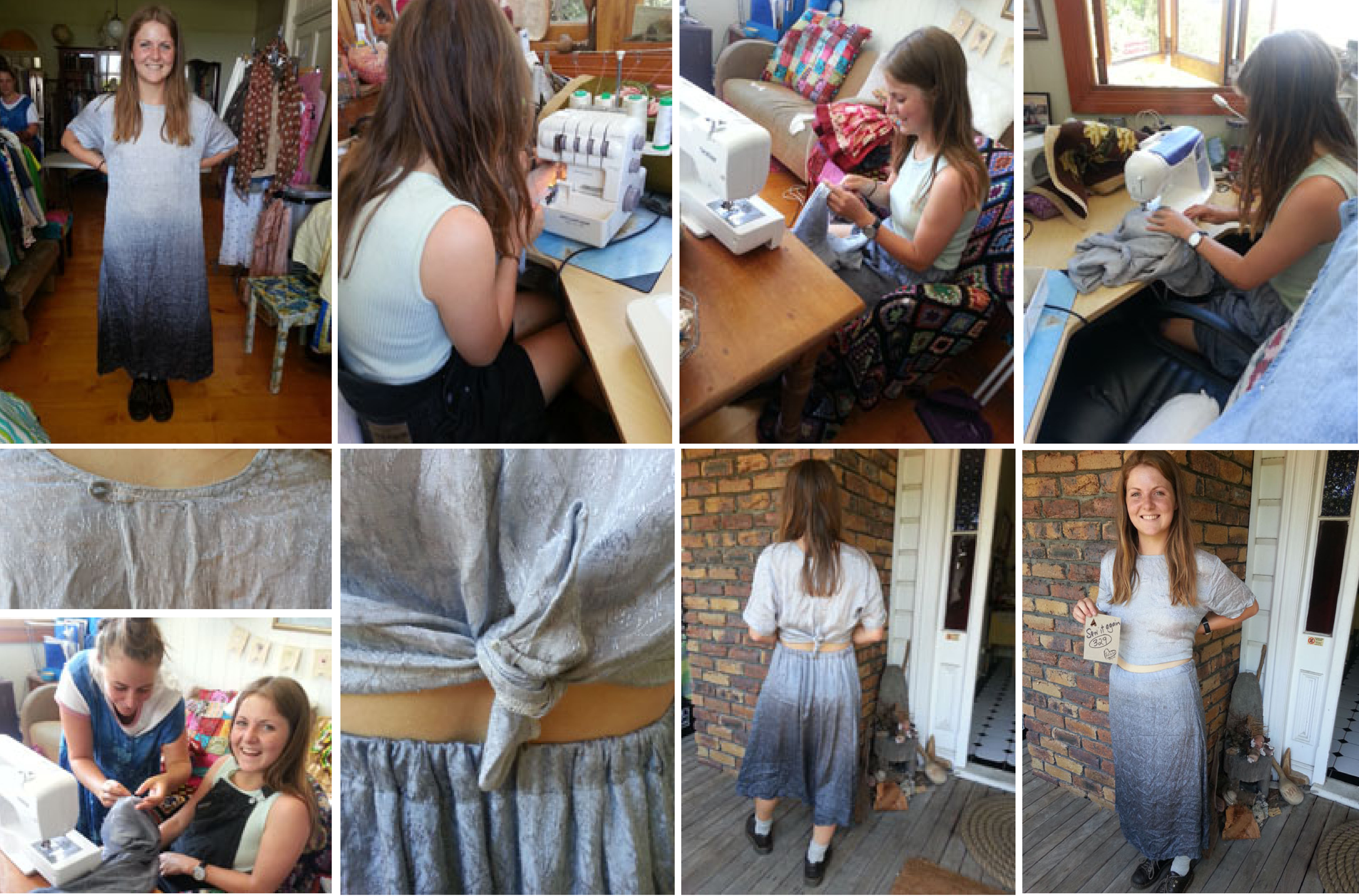 Billie restyles a baggy dress to suit herself