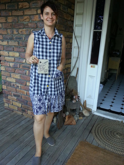 Kristina wears upcycled dress