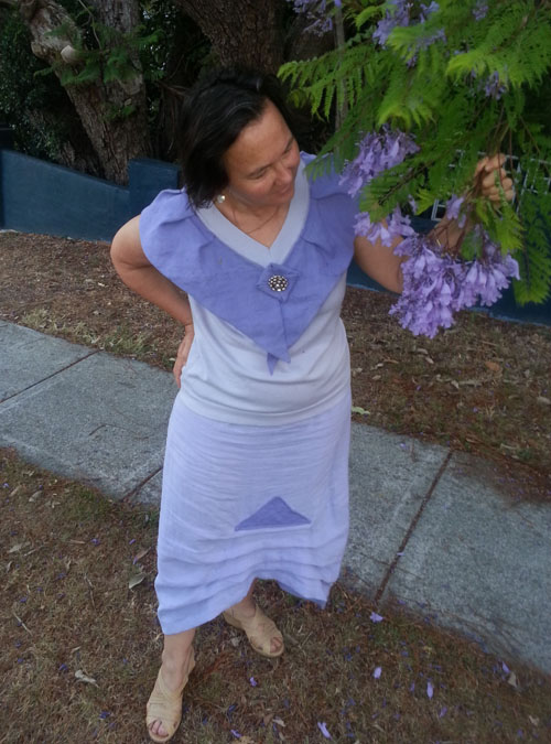 Jane Milburn wears Textile Beat jacaranda purple
