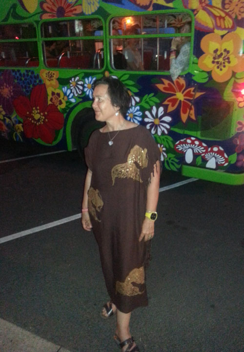 Jane Milburn wears upcycled sarong