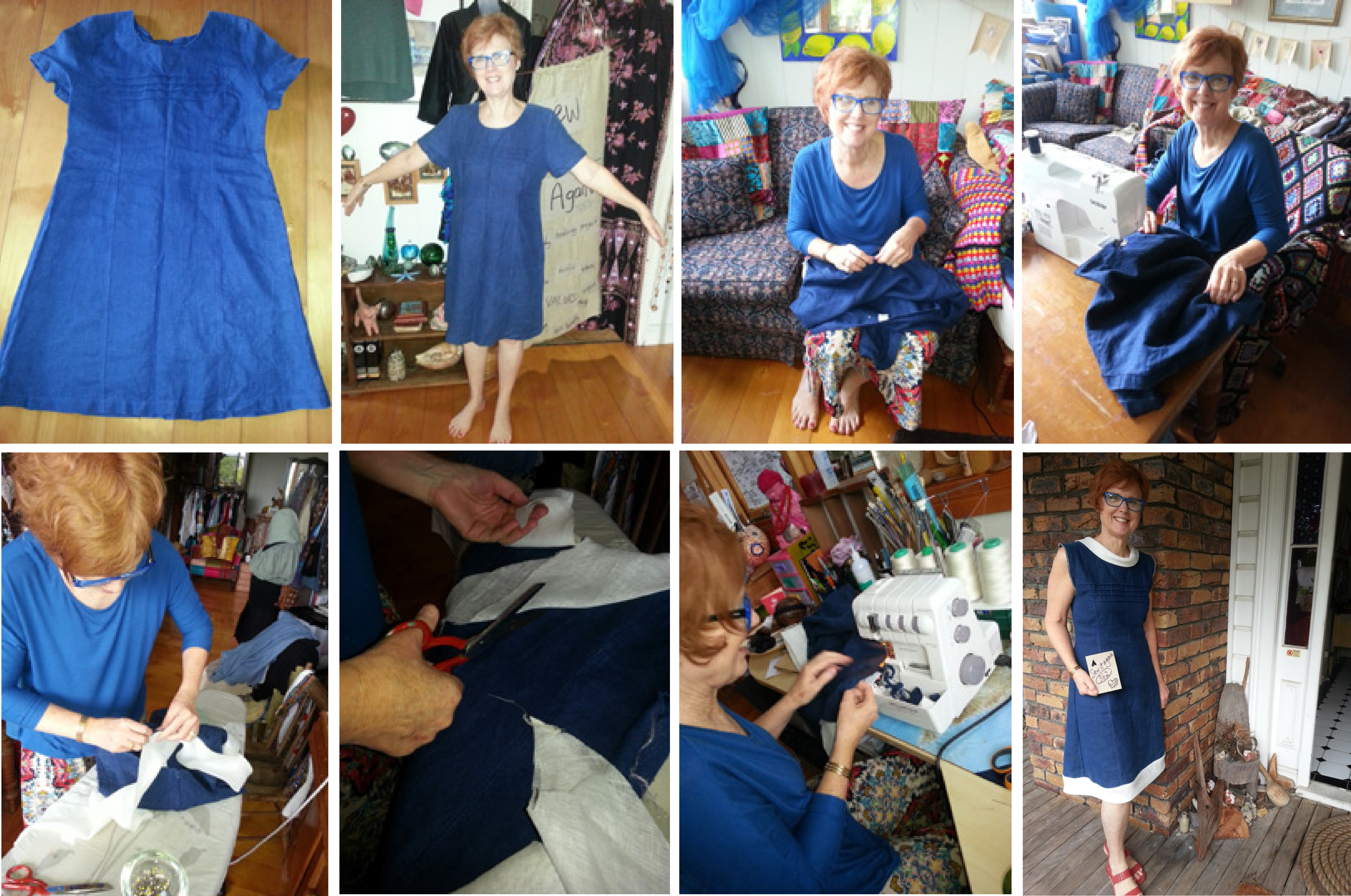 Julie upcycles navy linen