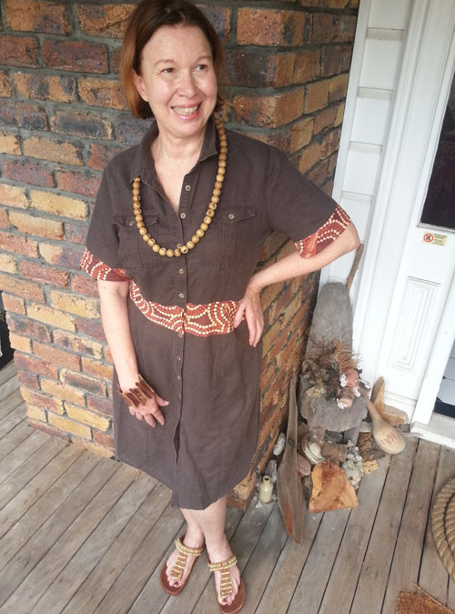 Jo wears upcycled linen