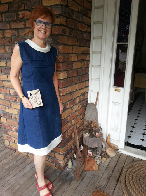 Julie wears upcycled linen