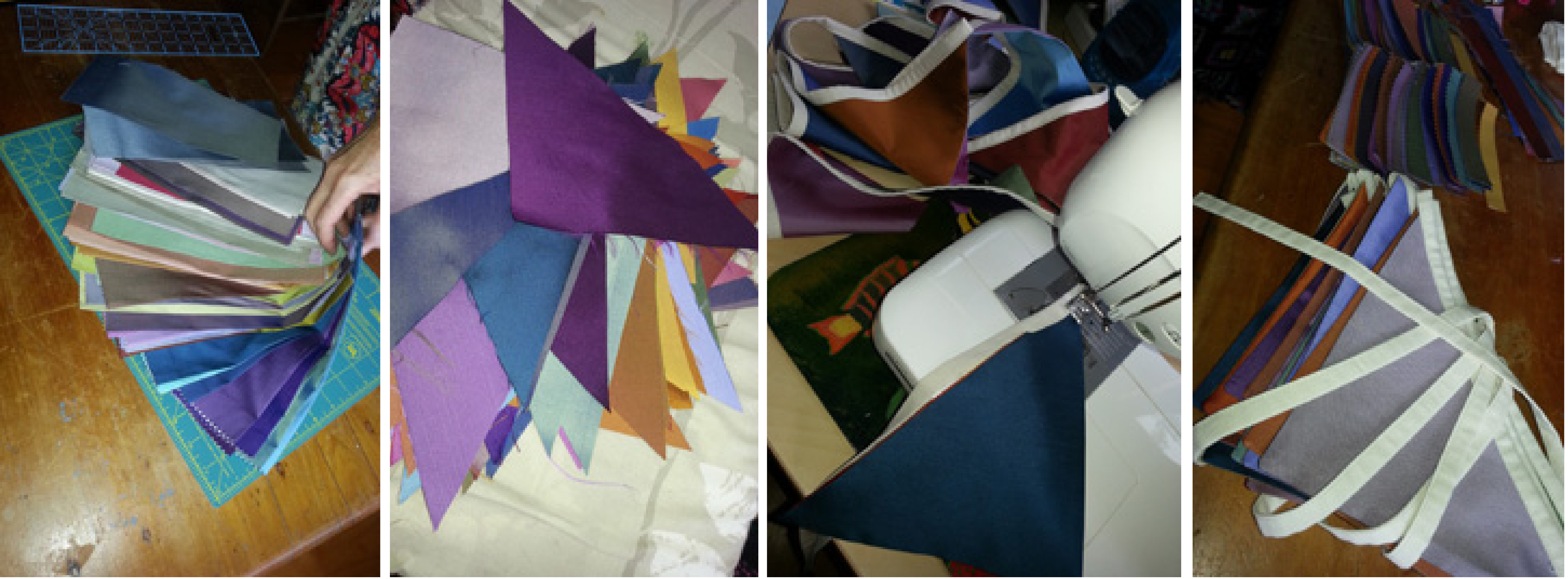 bunting upcycled from curtain samples