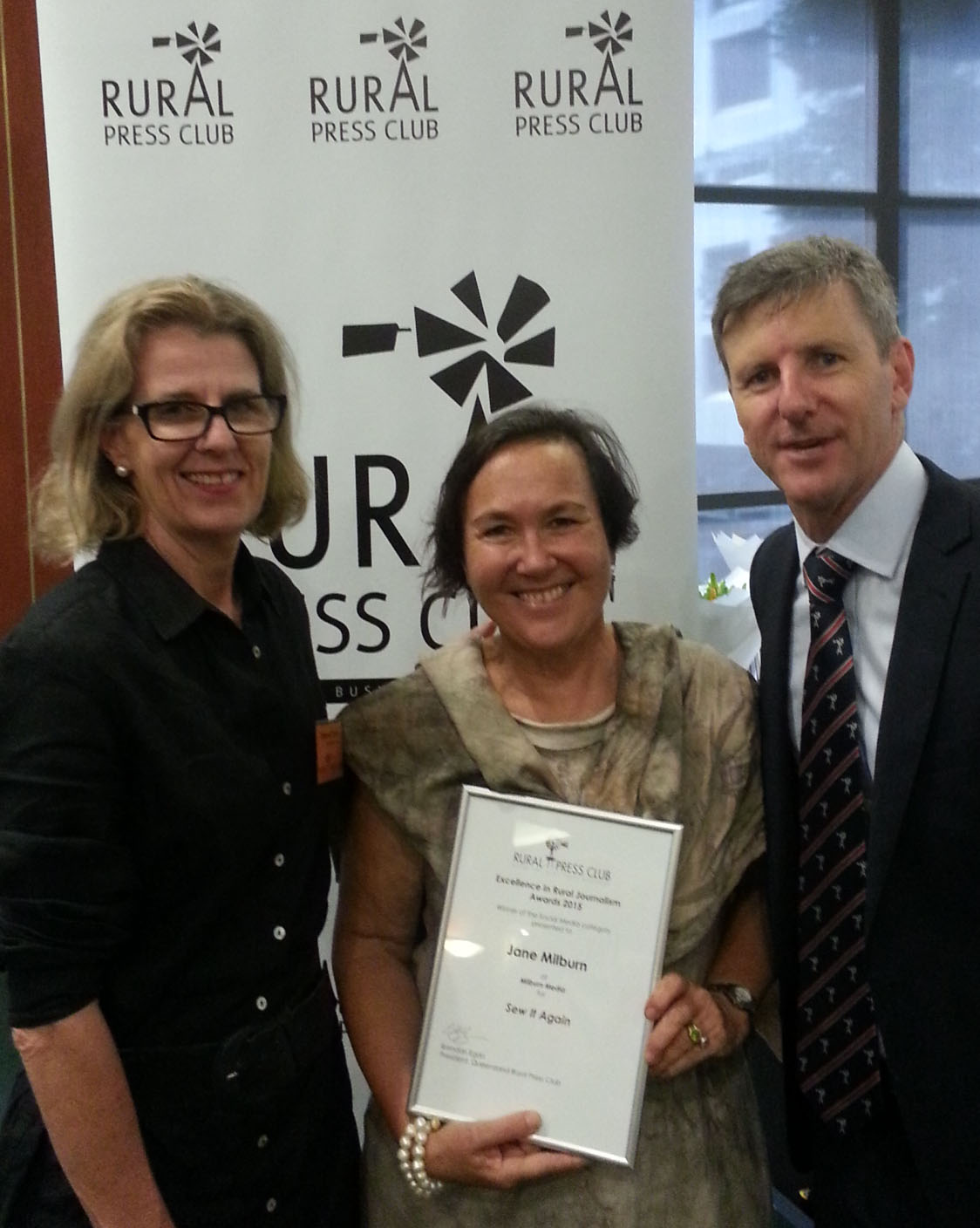 Social Media Award winner Jane Milburn with co-ordinator Edwina Close and Rural Press Club president Brendan Egan